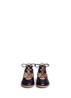 Aquazzura 'Belgravia Baby' caged leather toddler flats