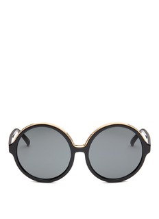 NO.21 Oversized metal brow acetate round sunglasses
