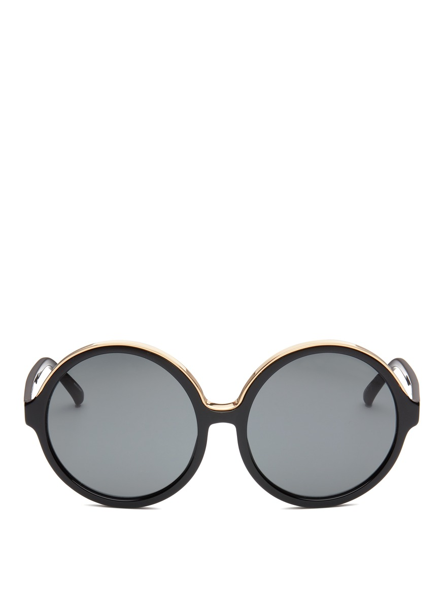 Oversized metal brow acetate round sunglasses by NO.21