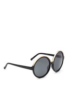 NO.21Oversized metal brow acetate round sunglasses