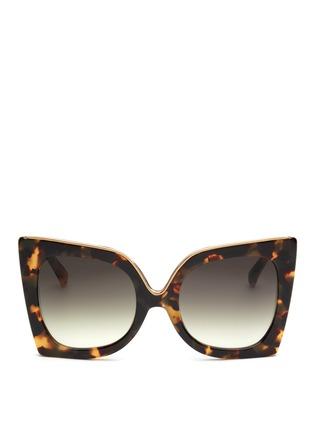 Main View - Click To Enlarge - NO.21 - Oversized metal brow tortoiseshell cat eye gradient sunglasses