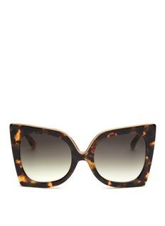 NO. 21oversize几何猫眼形玳瑁色板材太阳眼镜