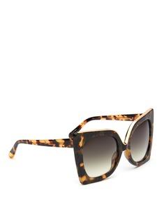 NO.21Oversized metal brow tortoiseshell cat eye gradient sunglasses