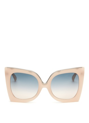 Main View - Click To Enlarge - NO.21 - Oversized metal brow cat eye gradient sunglasses