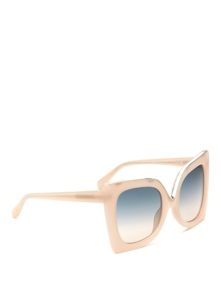 Figure View - Click To Enlarge - NO.21 - Oversized metal brow cat eye gradient sunglasses