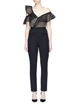 Main View - Click To Enlarge - self-portrait - Asymmetric lace frill bodice one-shoulder jumpsuit