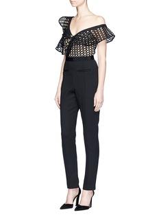 self-portraitAsymmetric lace frill bodice one-shoulder jumpsuit