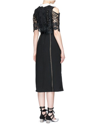Back View - Click To Enlarge - self-portrait - 'Hinkley' lace cape ruffled crepe dress