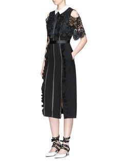 self-portrait'Hinkley' lace cape ruffled crepe dress
