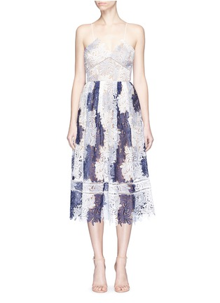 Main View - Click To Enlarge - self-portrait - 'Camellia' colourblock leaf guipure lace dress
