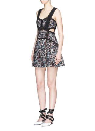 Figure View - Click To Enlarge - self-portrait - Pleated floral jacquard mini dress