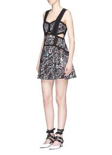 self-portraitPleated floral jacquard mini dress