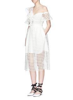 self-portraitAsymmetric frill guipure lace one-shoulder midi dress