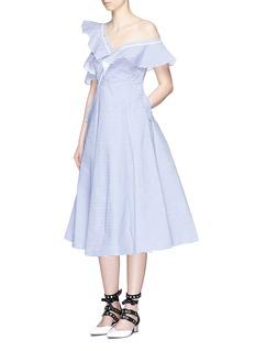 self-portraitAsymmetric frill stripe one-shoulder shirt dress