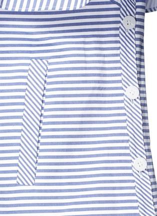 Detail View - Click To Enlarge - self-portrait - Asymmetric frill stripe one-shoulder shirt