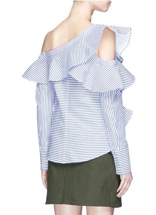 Back View - Click To Enlarge - self-portrait - Asymmetric frill stripe one-shoulder shirt