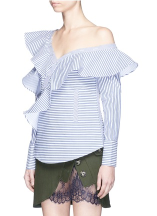 Front View - Click To Enlarge - self-portrait - Asymmetric frill stripe one-shoulder shirt