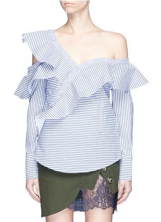 Main View - Click To Enlarge - self-portrait - Asymmetric frill stripe one-shoulder shirt