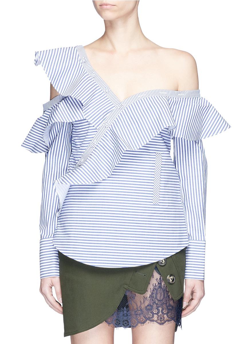 Asymmetric ruffle one-shoulder stripe poplin top by self-portrait