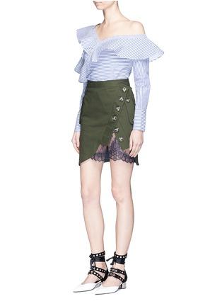 Figure View - Click To Enlarge - self-portrait - Asymmetric frill stripe one-shoulder shirt