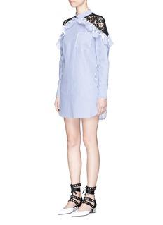 self-portraitLace shoulder insert ruffle stripe shirt dress