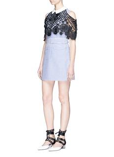 self-portraitFloral lace cape stripe shirt dress