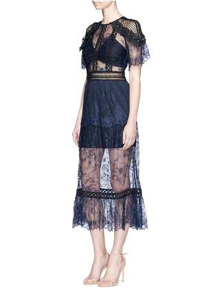 Figure View - Click To Enlarge - self-portrait - Frill shoulder floral lace midi dress