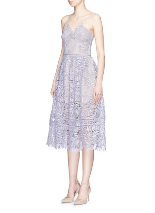 Front View - Click To Enlarge - self-portrait - 'Laelia' olive leaf guipure lace midi dress