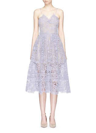 Main View - Click To Enlarge - self-portrait - 'Laelia' olive leaf guipure lace midi dress