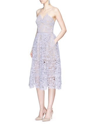 Figure View - Click To Enlarge - self-portrait - 'Laelia' olive leaf guipure lace midi dress
