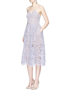 self-portrait'Laelia' olive leaf guipure lace midi dress