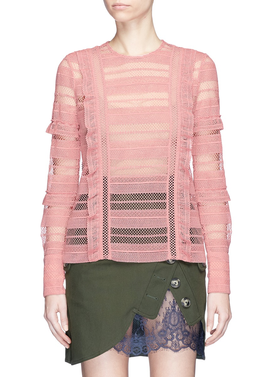 Ruffle stripe and grid guipure lace top by self-portrait