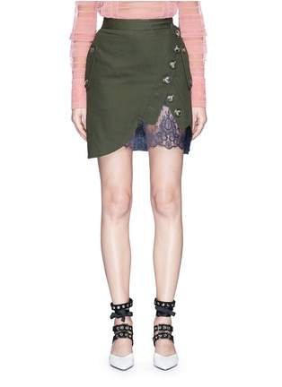 Main View - Click To Enlarge - self-portrait - Asymmetric button lace underlay twill utility skirt