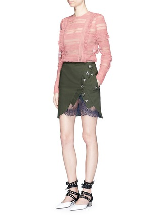 Figure View - Click To Enlarge - self-portrait - Asymmetric button lace underlay twill utility skirt
