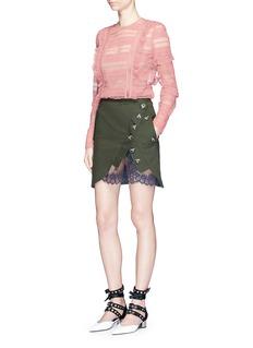 self-portraitAsymmetric button lace underlay twill utility skirt