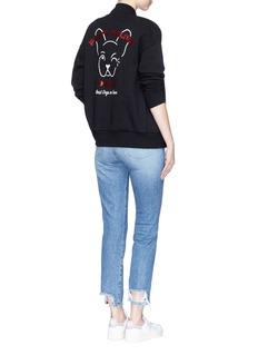 Etre Cecile 'Pink's Palace Diner' French bulldog print sweatshirt bomber jacket