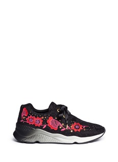 Ash Mina' floral embroidered stud lace sneakers