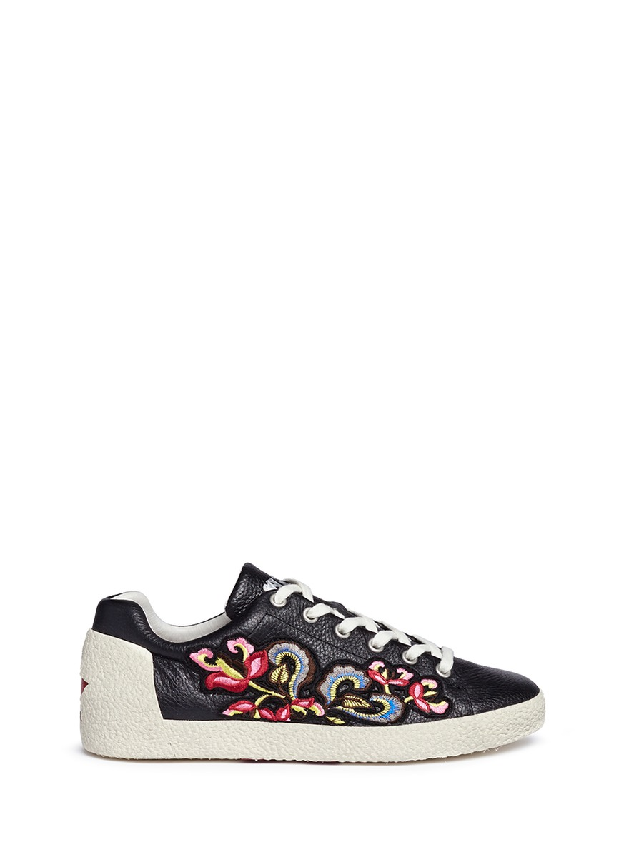 Nak floral embroidered leather sneakers by Ash