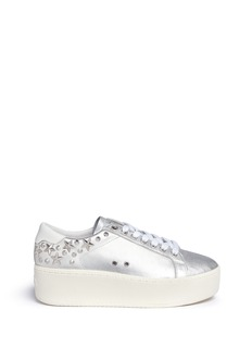 Ash Cyber' star stud metallic leather platform sneakers