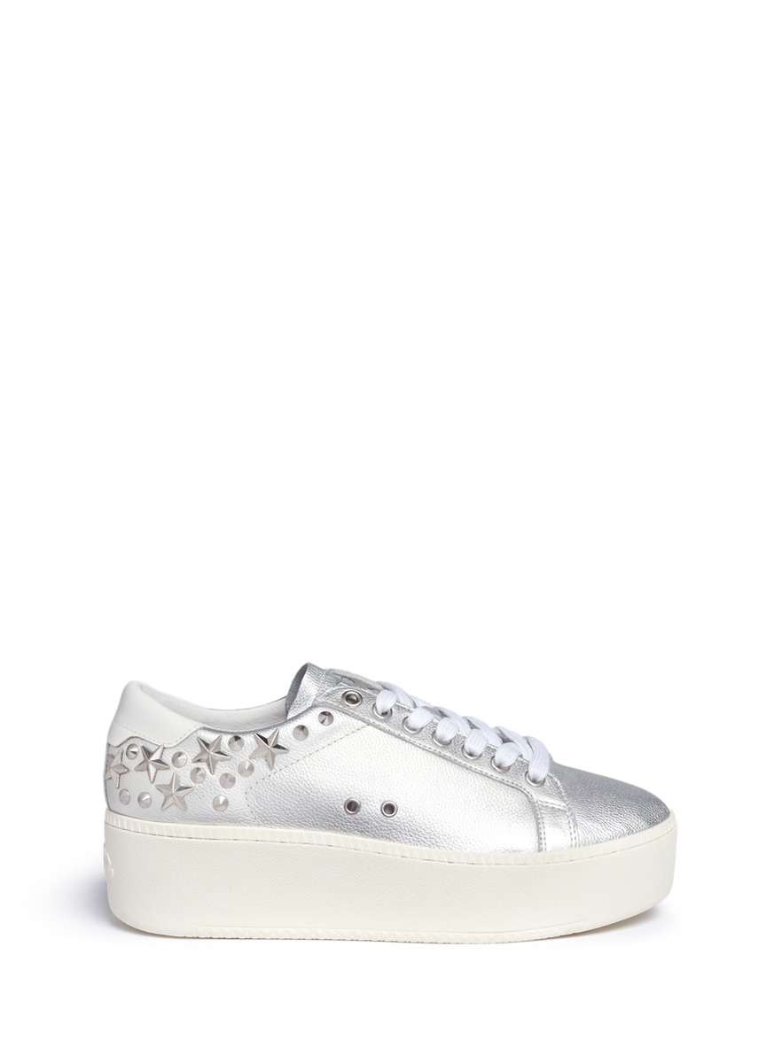 Cyber star stud metallic leather platform sneakers by Ash
