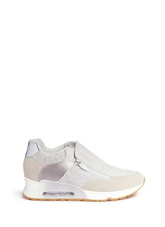 Ash 'Look Lace' satin and suede zip sneakers