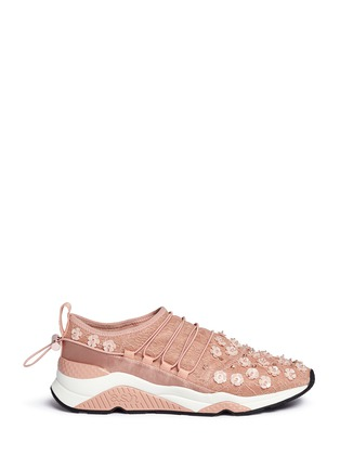 Main View - Click To Enlarge - Ash - Miss Lace' floral bead appliqué sneakers