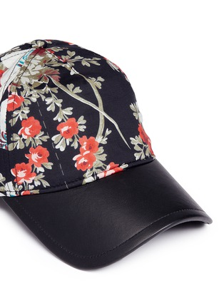 Detail View - Click To Enlarge - rag & bone - 'Marilyn' floral print leather peak baseball cap