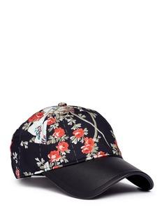 rag & bone'Marilyn' floral print leather peak baseball cap