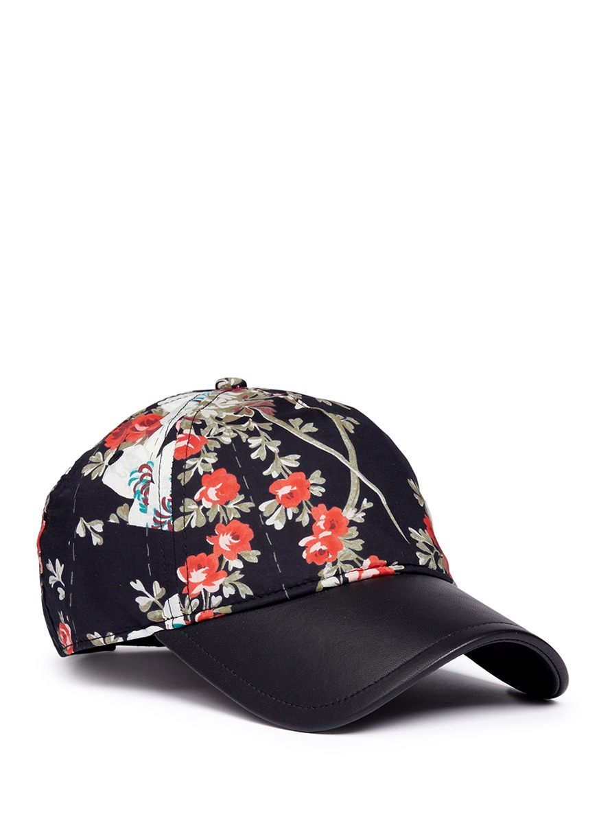 Marilyn floral print leather peak baseball cap by rag & bone