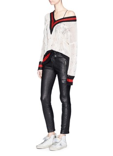 rag & bone'Emma' sport stripe sheer cricket sweater