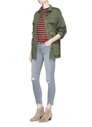 Figure View - Click To Enlarge - J Brand - Low rise distressed cropped skinny jeans