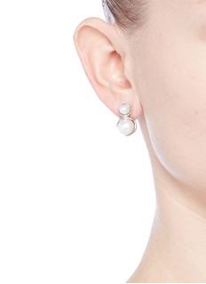 Obellery'Fruity' 18k white gold plated double pearl earrings