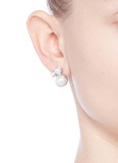 Obellery'Fruity Trinity' 18k white gold plated triple pearl earrings