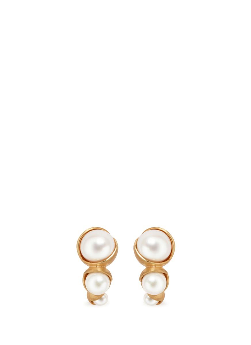 Fruity Trio 18k yellow gold plated triple pearl earrings by Obellery
